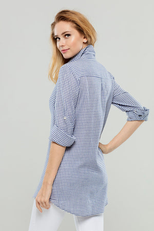 Navy Check Cotton/Cashmere Tunic