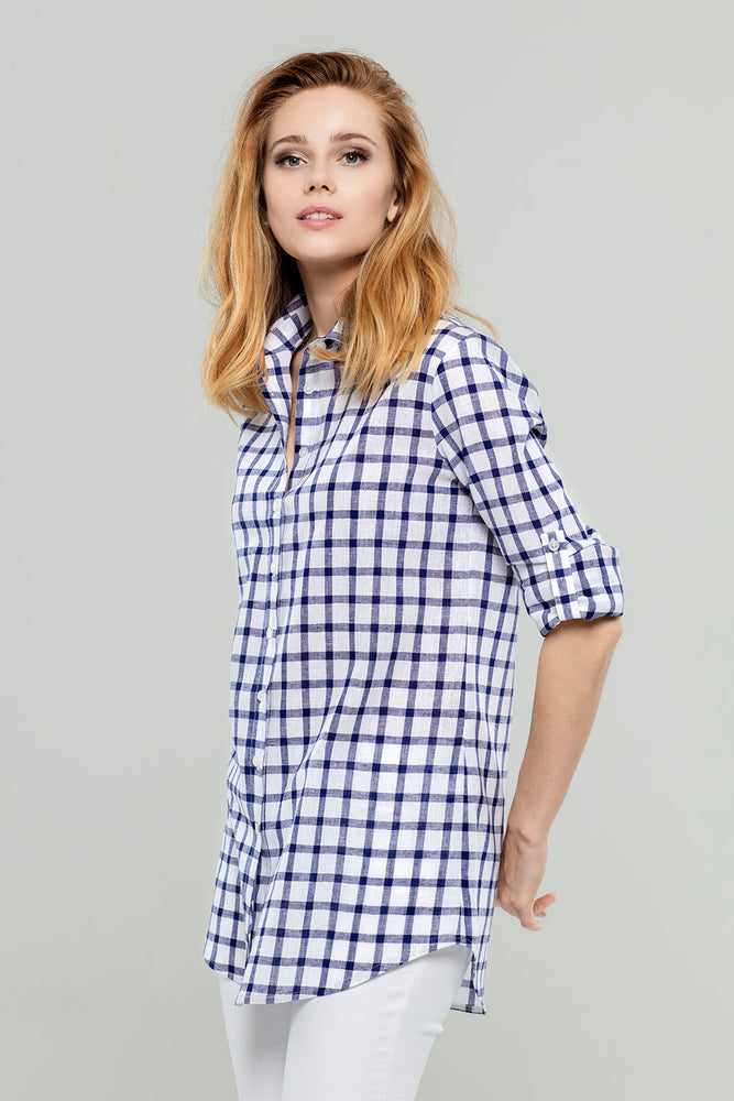 Load image into Gallery viewer, Big Navy Check Tunic