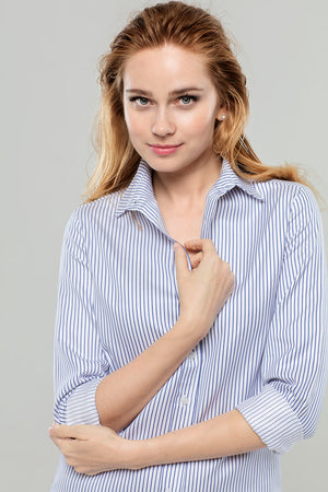 White w/Navy Stripe Cotton Shirt