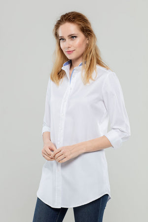 Load image into Gallery viewer, White w/ Blue Neck Cotton Tunic