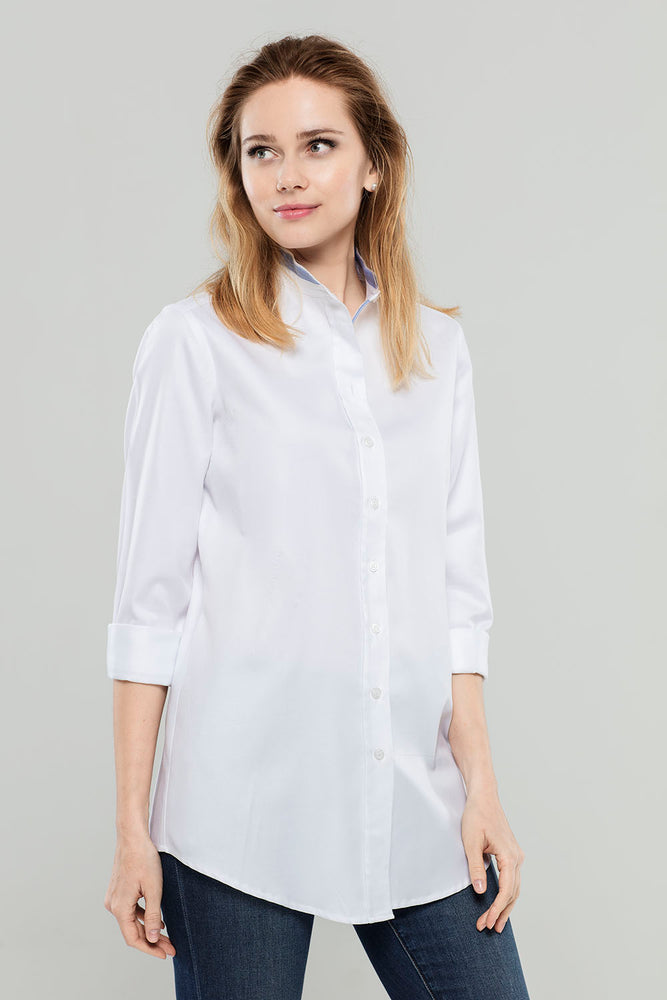 White w/ Blue Neck Cotton Tunic
