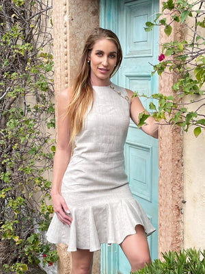 Load image into Gallery viewer, Beige Linen Dress w/ 3 Buttons
