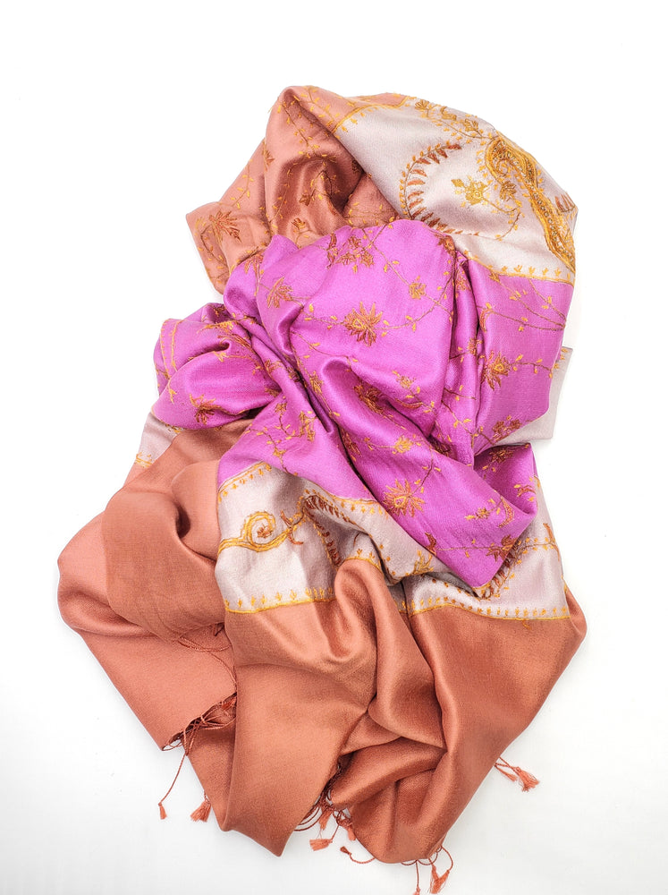 Burnt Orange & Pink Embroidered Silk Scarf