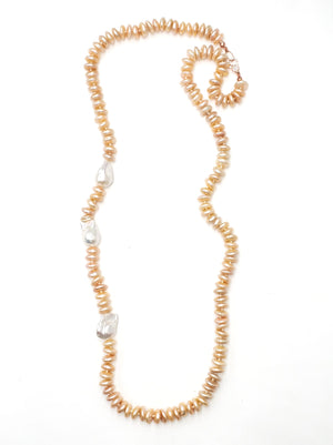 Champagne Pearl Necklace w/ Baroque Pearls