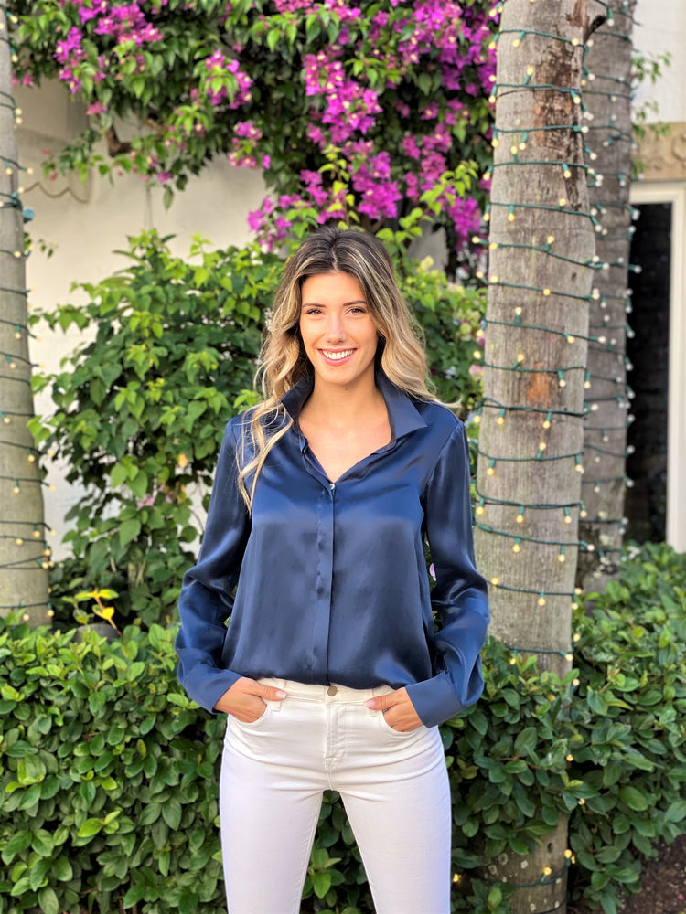 Load image into Gallery viewer, Navy Silk Blouse