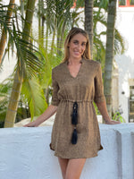 Green Silk Paisley Tie Neck Top