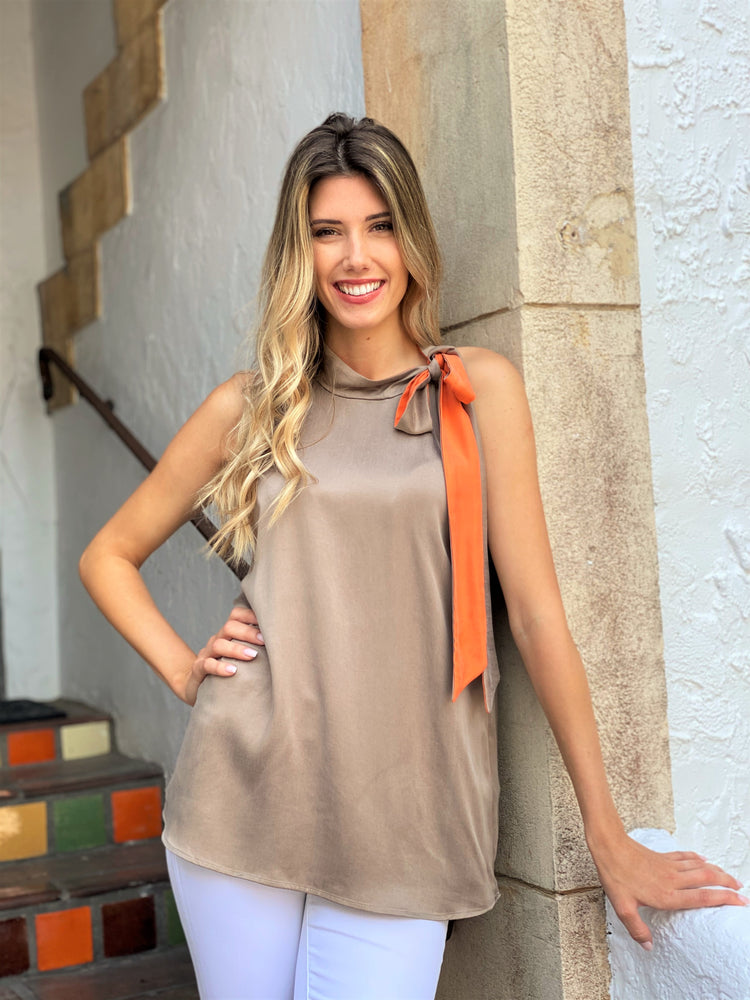Brown w Orange Tie Neck Top