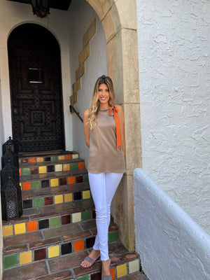Brown w Orange Cowl Neck Top