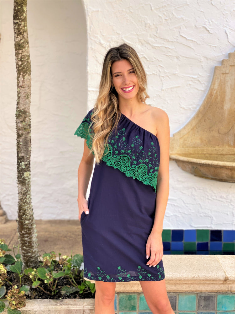 Navy/Green Embroided One Shoulder Dress