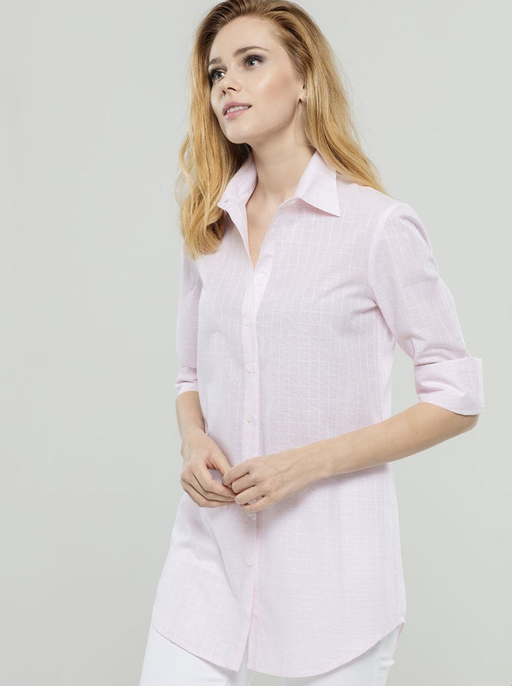 Light Pink Squared Linen/Cotton Tunic