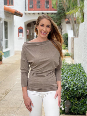 Load image into Gallery viewer, Off-Shoulder Brown Blouse