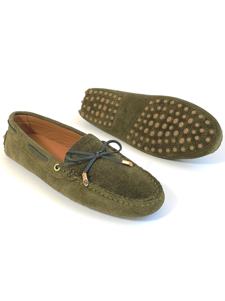 Load image into Gallery viewer, Olive Suede Loafers