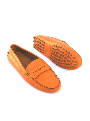 Orange Leather Loafers