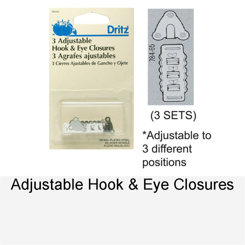 HOOKS & EYES ADJUSTABLE CLOSURE