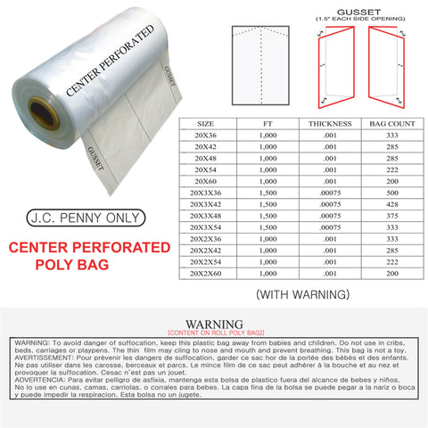 POLY BAG - CENTER PERFORATED