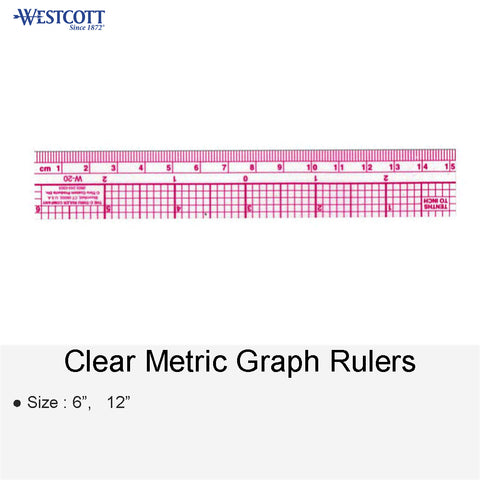 CLEAR METRIC GRAPH RULERS 6 12