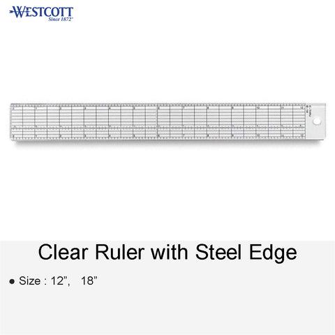 CLEAR RULER WITH STEEL EDGE 12 18