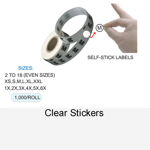 CLEAR SIZE STICKERS