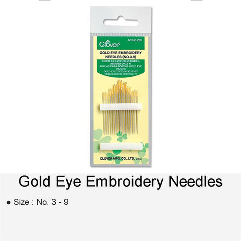 GOLD EYE EMBROIDERY NEEDLES NO.3-9