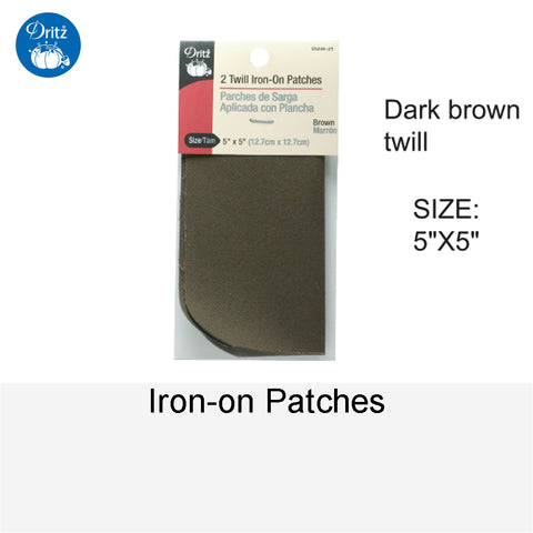IRON-ON PATCHES DARK BROWN TWILL
