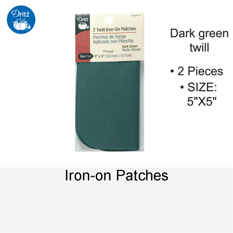 IRON-ON PATCHES DARK GREEN TWILL