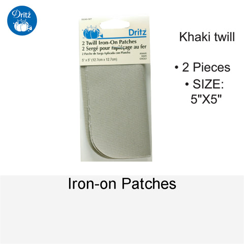 IRON-ON PATCHES KHAKI TWILL