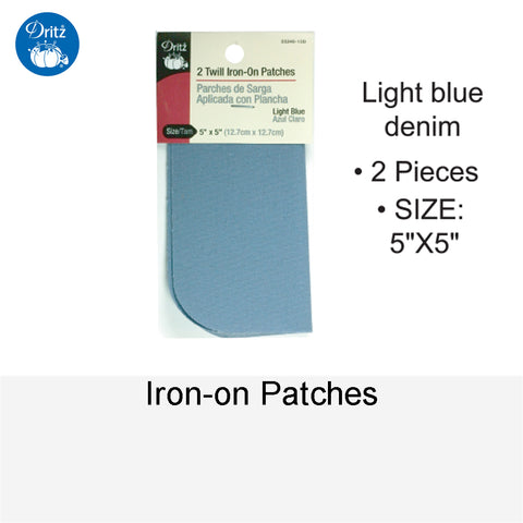 IRON-ON PATCHES LIGHT BLUE DENIM