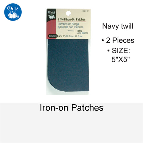 IRON-ON PATCHES NAVY TWILL