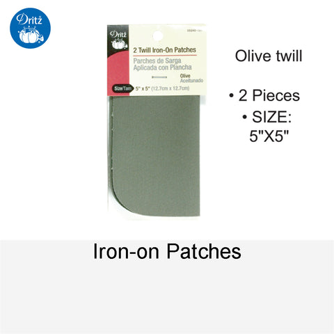 IRON-ON PATCHES OLIVE TWILL