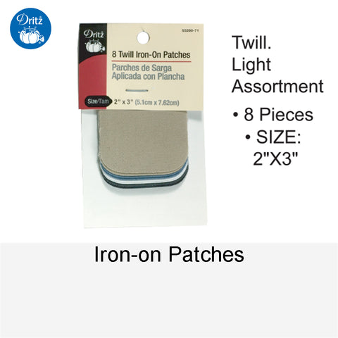 IRON-ON PATCHES TWILL LIGHT