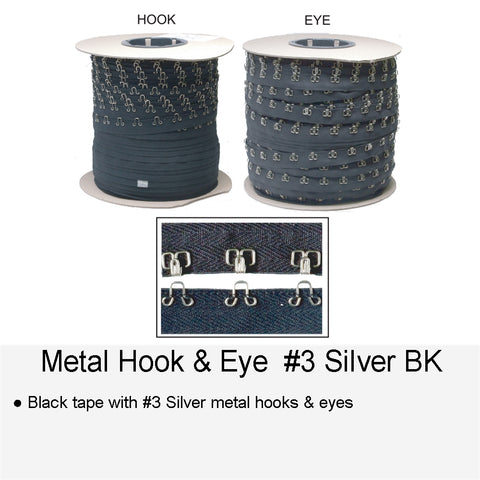 METAL HOOK & EYE #3 SILVER BK