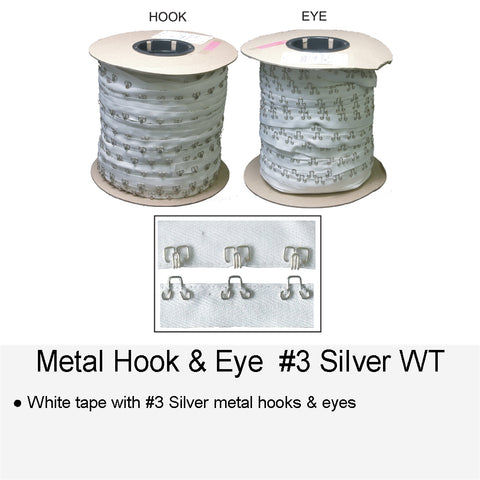 METAL HOOK & EYE #3 SILVER WT