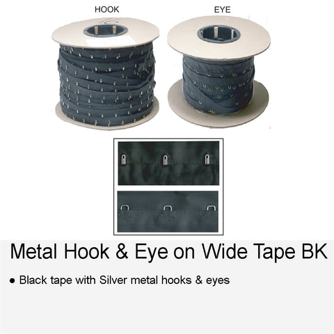 METAL HOOK & EYE ON WIDE BK