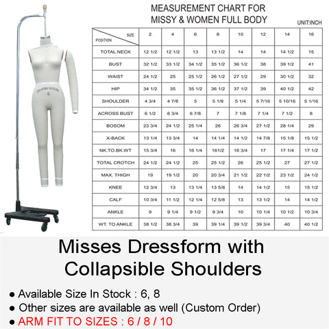 MISSES FULL BODY DRESSFORM WITH COLLAPSIBLE SHOULDERS