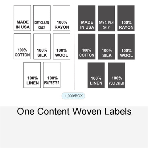 ONE CONTENT WOVEN LABELS