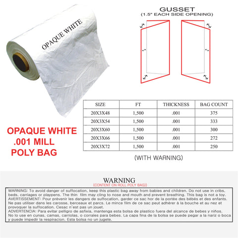 POLY BAG - OPAQUE WHITE (.001 MILL)