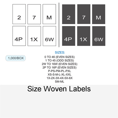 SIZE WOVEN LABELS