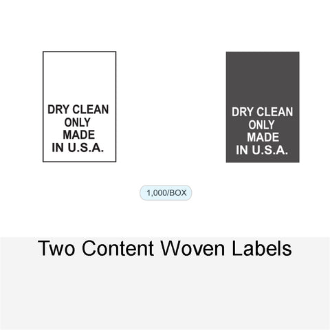 TWO CONTENT WOVEN LABELS