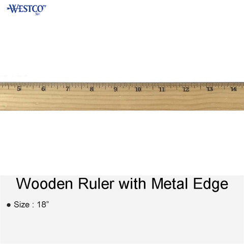 WOODEN RULER WITH METAL EDGE 18