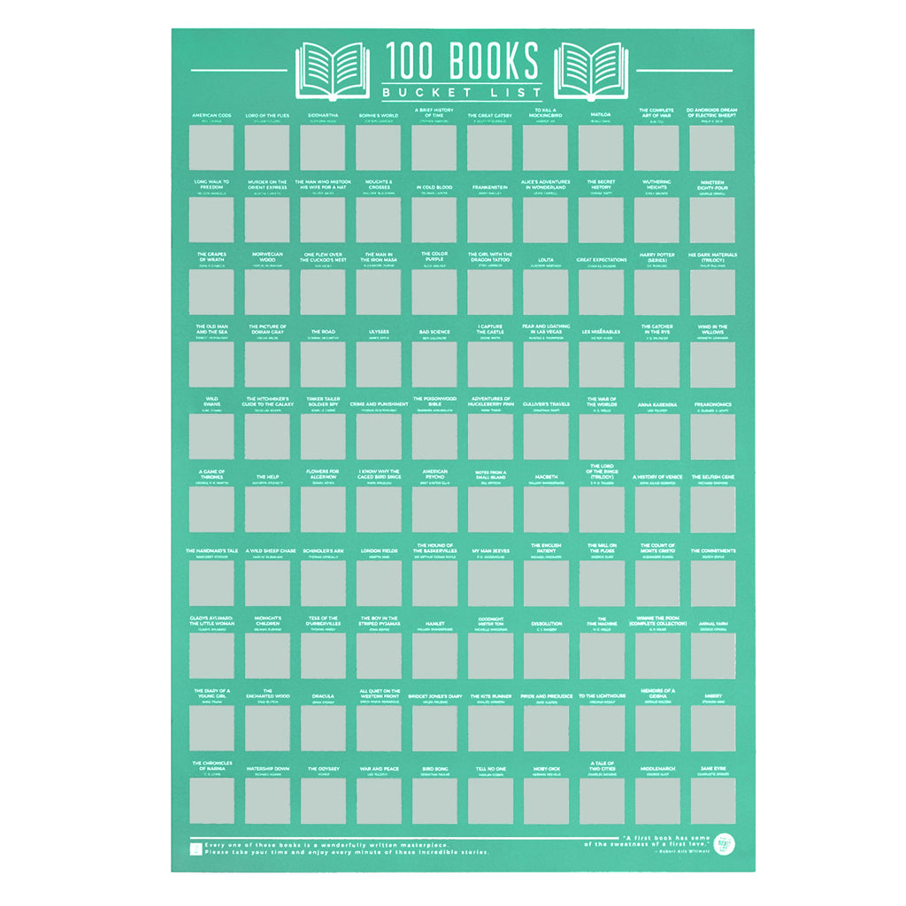 100 Books Scratch Off Bucket List Poster
