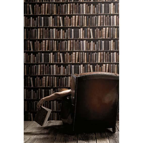 Old Coloured Bookcase Wallpaper
