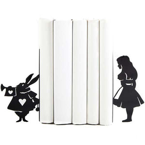Alice & White Rabbit Bookends