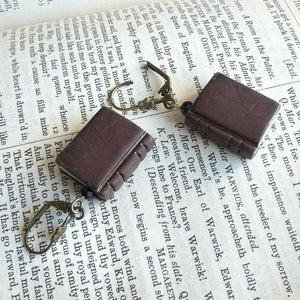 Mini Book Earrings - Brown