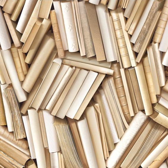 Chaotic Ivory Bookcase Wallpaper