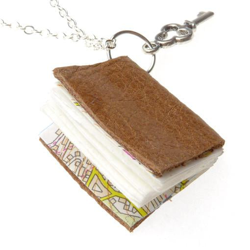 Tan Leather Book Necklace