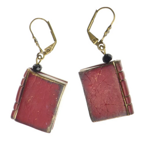 Mini Book Earrings - Red