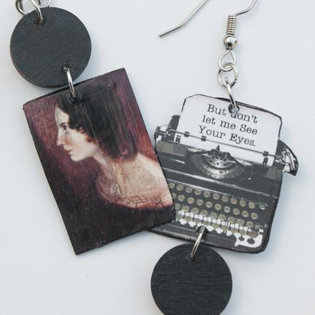Wuthering Heights Typewriter Earrings