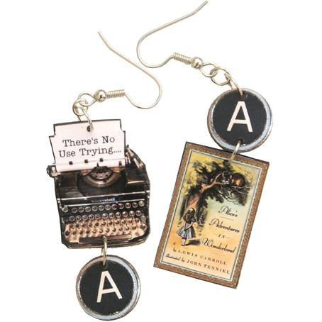 Alice in Wonderland Typewriter Earrings