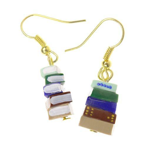 Blue and Green Stack of Books Earrings