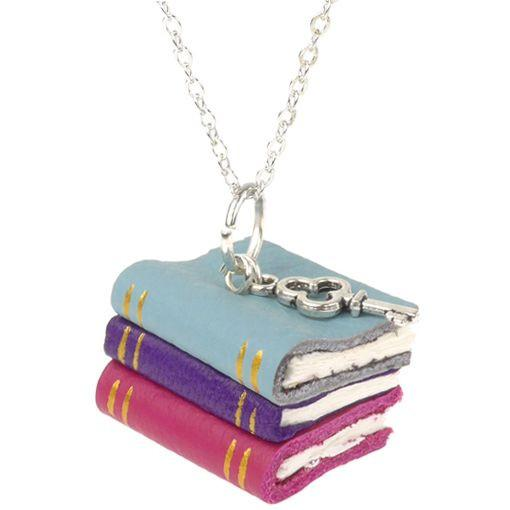 Blue and Purple Book Stack Necklace